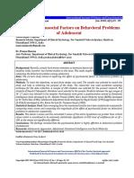Effect of Psychosocial Factors on Behavioral Problems of Adolescent