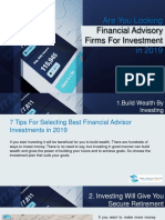 Are You Looking Financial Advisory Firms for Investment in 2019