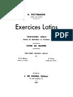 Exercices latins. Troisième série. Livre du maître.