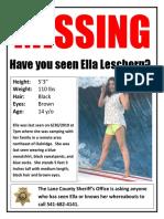 Ella Leschorn Missing Poster
