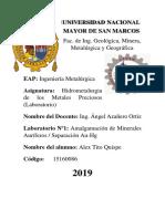 Informe 1 - Amalgamacion de Minerales Auriferos