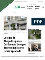 Colegio de Abogados pide a Cortizo que derogue decreto migratorio recién aprobado - Metro Libre