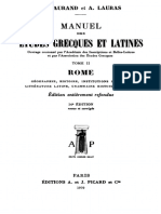 Manuel des études grecques et latines. Tome II Rome.