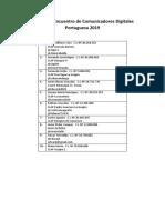 Listado Comunicadores Digitales Portuguesa 2019