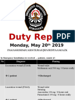 Duty Report, Monday May 20th 2019