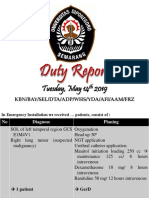 Duty Report, Tuesday May 14th 2019