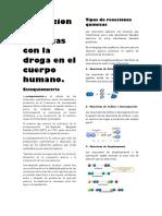 Reacciones Químicas Con La Droga en El Cuerpo Humano