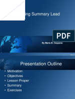 Writing Summary Lead
