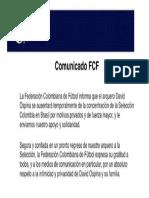 El comunicado de la FCF por la salida de David Ospina