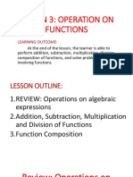 Lesson 3 Operation on Functions