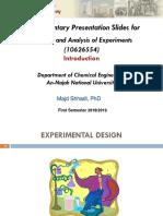 Fundamentals of Design Experiments Part 1