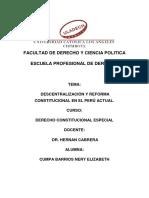 Descentralización y Reforma Constitucional en El Perú Actual