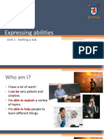 Lesson 2 - Getting a Job (Expressing Ability and Gerunds After Prepositions)