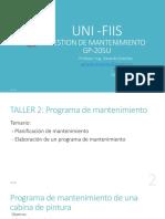 Taller - Programa de Mantenimiento Preventivo