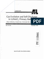 Gas Evolution and Self-Discharge in Li-Mn02 Primary Batteries (a358683)