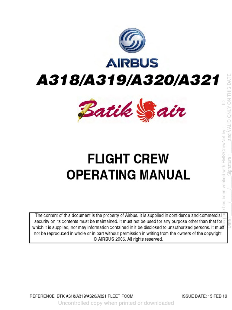 Fcom A320  Flight Crew Operationg Manual A320  Iss