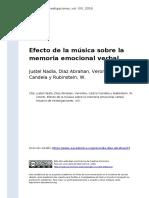 Justel Nadia, Diaz Abrahan, Veronika, (..) (2016). Efecto de La Musica Sobre La Memoria Emocional Verbal