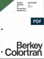 Berkey Colortran Price List Theatre Lighting 5-1974