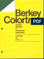 Berkey Colortran Price List Theatre Lighting 11-1974