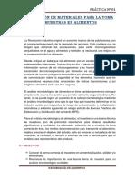 ALIMENTOS I - N°01 PREPARACIÓN DE MATERIALES PARA LA TOMA DE MUESTRAS EN ALIMENTOS