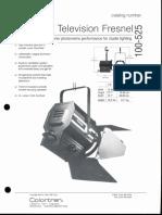 Colortran 2kW Television Fresnel 100-525 Spec Sheet 1994