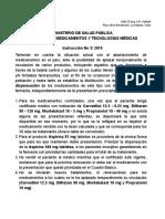 Instruccion 2-2019, Medic Aplazados TCcon Disp