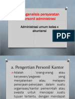 KD 3.3 Menganalisis Persyaratan Personil Administrasi