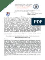 Incertidumbre en la Articulación del Currículo de La Educación Básica y Superior en la UNDAC