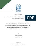 Recomendaciones para la conversión de empresas vanguardistas procesadoras de alimentos del Área Metropolitana de Mérida en Mesoempresas
