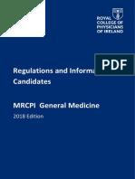 MRCPI Combined General Medicine Regulations 2018