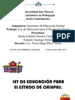 Ley de Educación Para El Estado de Chiapas - Art 1 Al 60