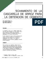 Aprovechamiento de La Cascarilla de Arroz Para La Obtencion de Cemento