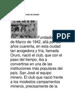 Historia de San Jose de Oruro