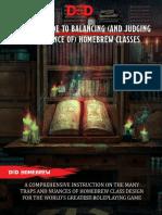 Guide to Balancing Homebrew Classes v1.3
