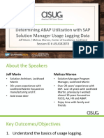 ASUG82878 - Determining ABAP Utilization With SAP Solution Manager Usage Logging Data
