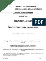 BAC 2019 STL sujets Bio Physique-Chimie