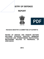 Raksha Mantri Ministry of Defence Recport on Pension