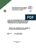 Uso de Herramientas Para La Generacion de Reportes en El Proceso de Automatizacion