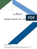 Holiday Calendar List - 2019 - India