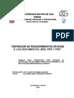 Definicion de Requerimientos en Base a Los Documentos Brd, Prd y Frd