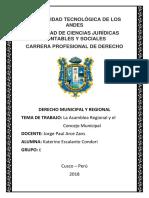 Derecho Municipal - La Asamblea Regional y El Concejo Municipal