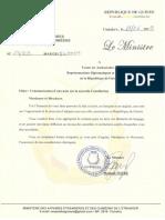 Communication d'une note sur la nouvelle Constitution - Guinée