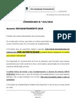 Comunicado 015 2018 Recadastramento Comunicado 2018