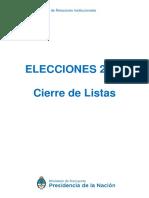 Cierre de Listas 2019.