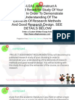 7860-U2A1 -Deconstruct a Published Research Study of Your Choosing in Order to Demonstrate Your Understanding of the Elements of Research Methods and Good Research Design. SEE DETAILS BELOW