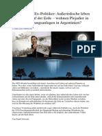 Chinesischer Ex-Politiker - Außerirdische Leben Unentdeckt Auf Der Erde – Wohnen Plejadier in Eigenen Siedlungsanlagen in Argentinien