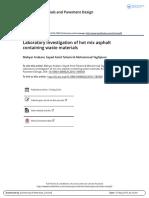 2016 Laboratory Investigation of Hot Mix Asphalt