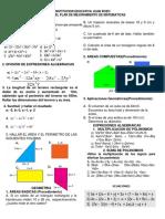 Examen General de Matematicas Grado 8