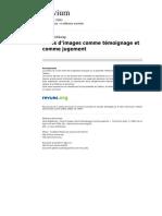 Actes d Images Comme Temoignage Et Comme Jugement in Trivium 1 2008