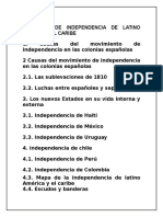 Procesos de Independencia de Latino America y El Caribe